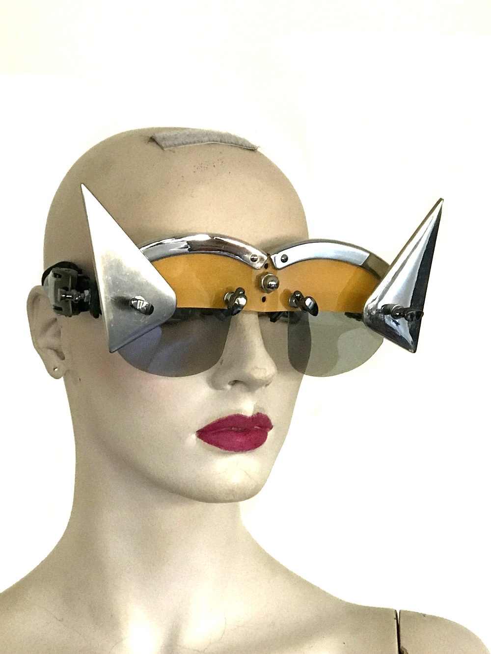 futuristic modern steampunk eyewear for artists triangular horns, yellow face