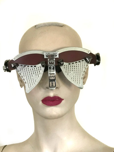 handmade futuristic modern steampunk eyewear for artists Spartan nose shield metal lens burgundy face