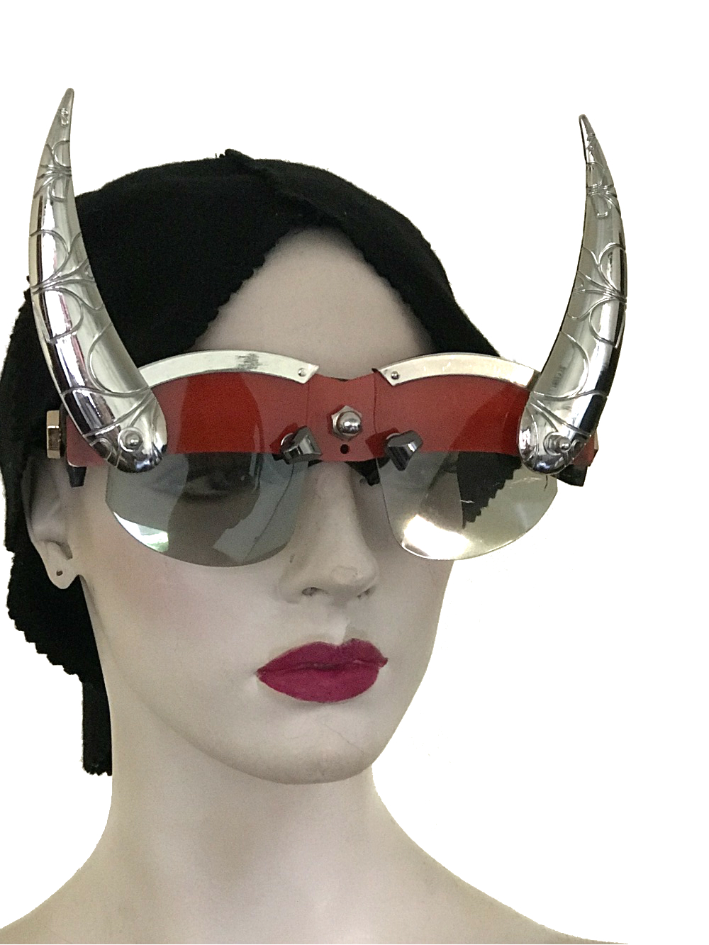 futuristic modern steampunk eyewear for artists devil horns, red face