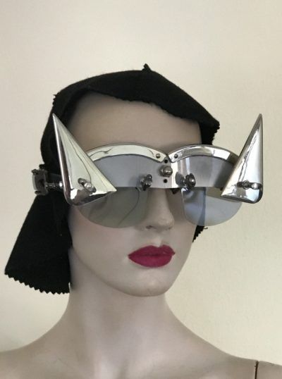 futuristic modern steampunk eyewear for artists triangular horns, silver face