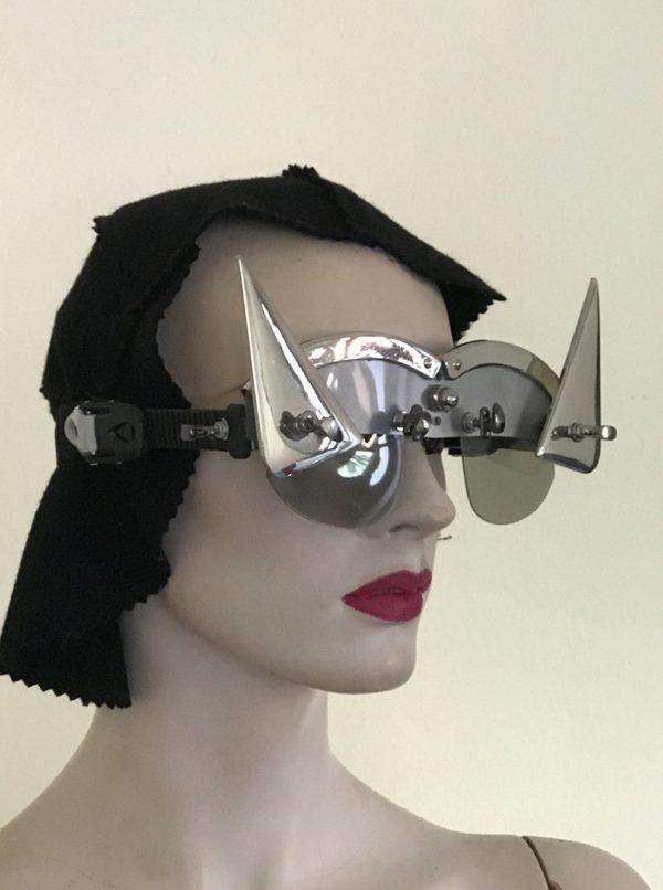 futuristic modern steampunk eyewear for artists triangular horns, silver face