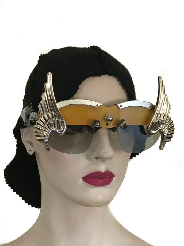 handmade futuristic modern steampunk unusual eye wear mask gold wings Hi Tek yellow face