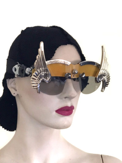 handmade futuristic modern steampunk unusual eye wear mask gold wings Hi Tek yellow face