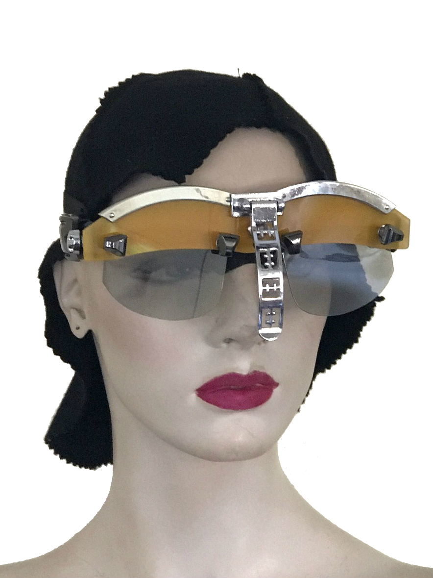 handmade futuristic modern steampunk eyewear for artists Spartan nose shield yellow face