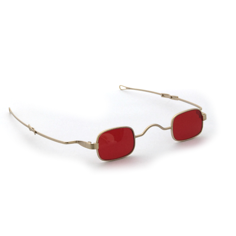 85a5616ff2a5 small square sunglasses retro Victorian spectacles with adjustable temples  gold frame red lens