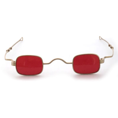 small square sunglasses retro Victorian spectacles with adjustable temples gold frame red lens