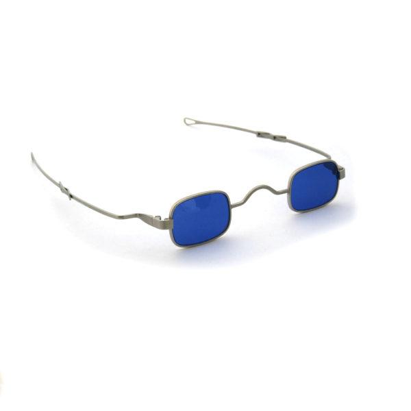 small square sunglasses retro Victorian spectacles with adjustable temples silver frame blue lens