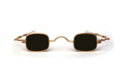 small square sunglasses retro Victorian spectacles with adjustable temples gold frame