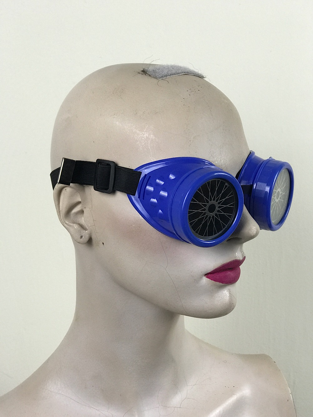 steampunk goggles stainless steel lens blue plastic cups BICYCLE