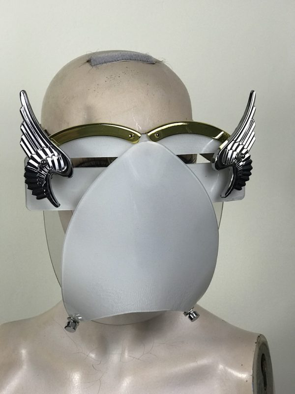 White eyewear mask with metal angel wings and muzzle Hi Tek