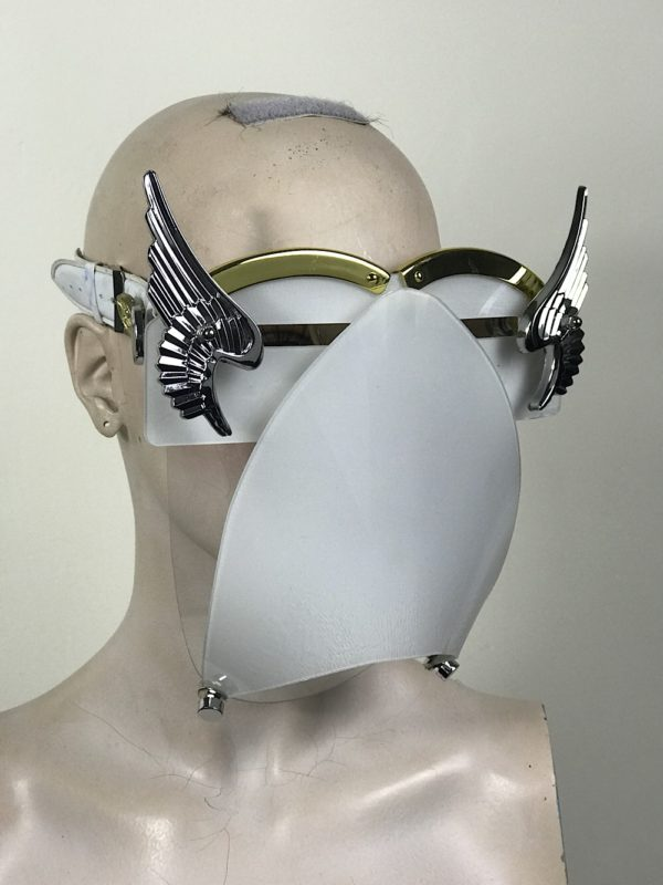 White eyewear mask with metal angel wings and muzzle Hi Tek