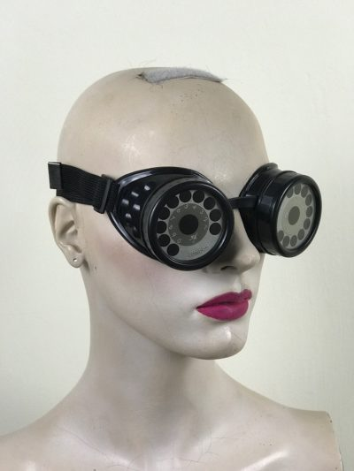 steampunk goggles metal ocular lens black plastic cups TELEPHONE DIAL