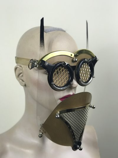 Gold mask with horns muzzle metal mouth shield perforated metal ocular lenses for artists styling filming