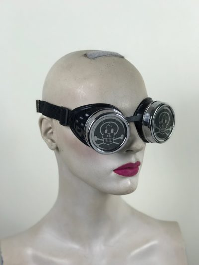 steampunk goggles metal ocular lens silver plastic cups SKULL