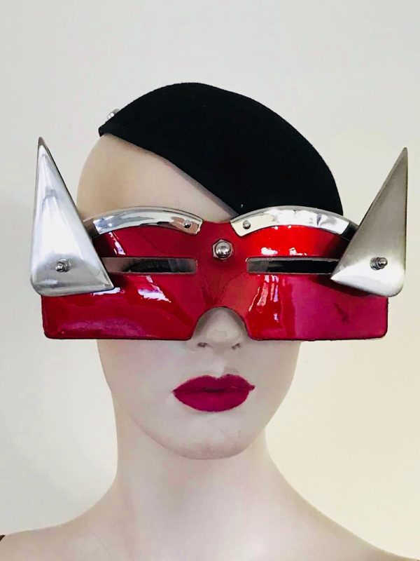 Artistic eye wear, shiny red leather mask with metal triangular horns for filming styling