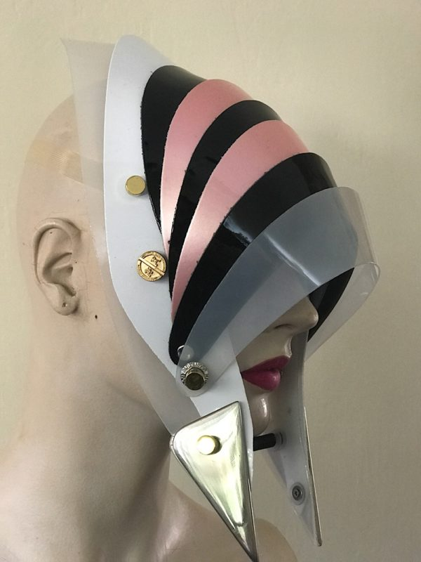 Unusual Head Wear futuristic, mask hat headpiece helmet mode rn Steam punk wearable art pink black
