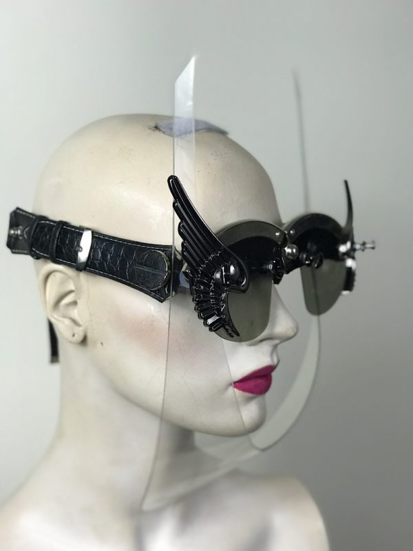 Eyewear mask with wings futuristic modern steampunk costume accessory Hi Tek