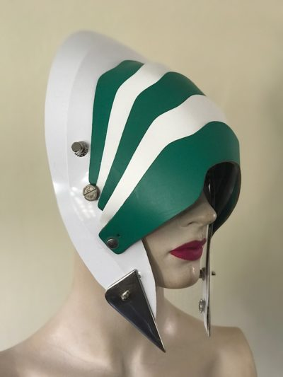 Unusual Head Wear futuristic, mask hat headpiece helmet mode rn Steampunk wearable art green white