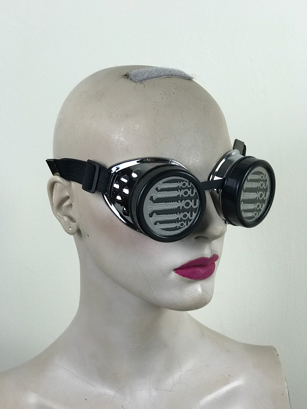 steampunk goggles metal ocular lens black plastic cups SCREWS