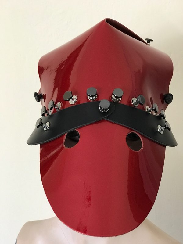 Red shiny leather hat head wear for costume styling statement