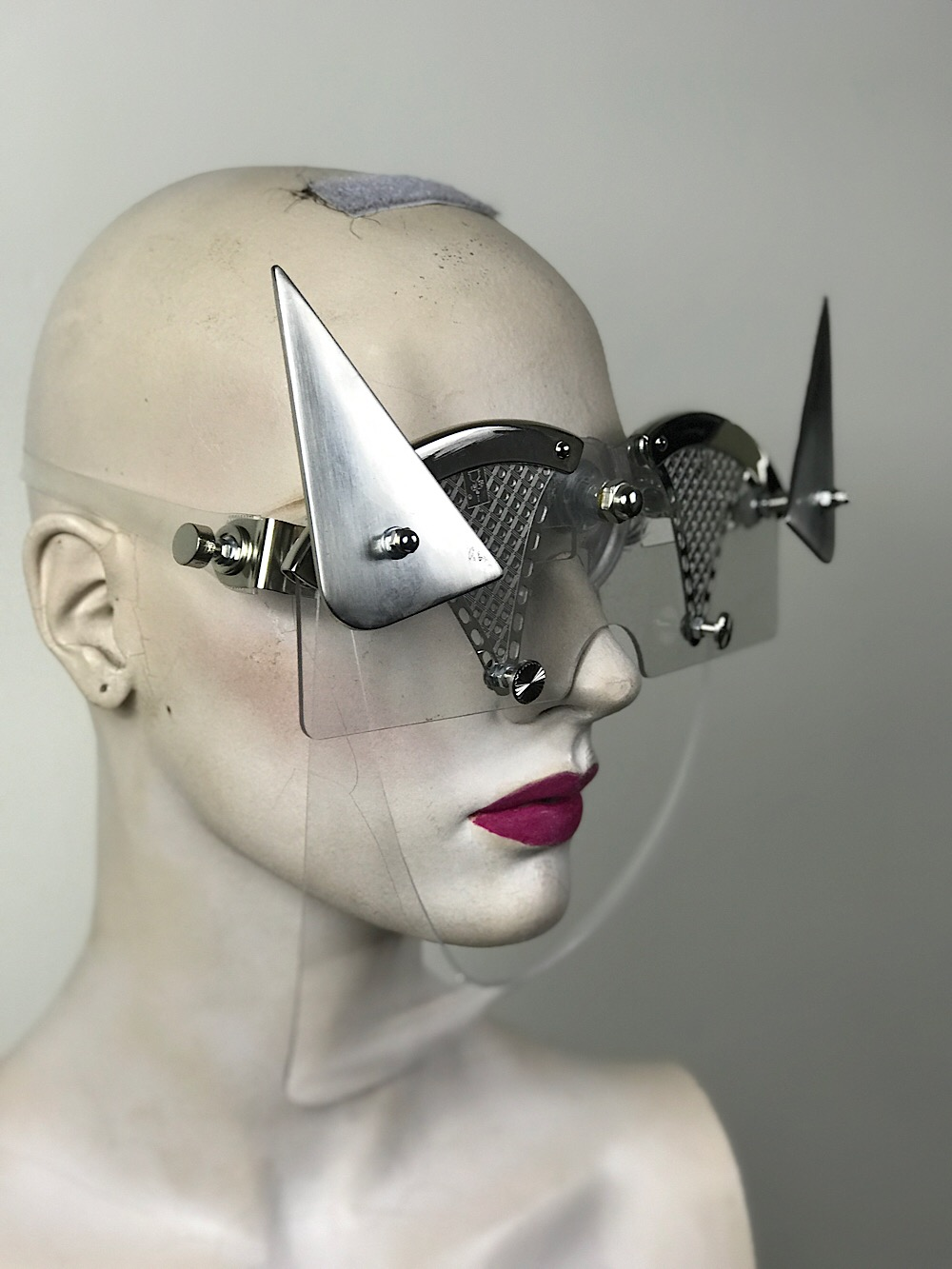 Perspex eye wear mask futuristic modern steampunk Hi Tek