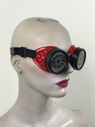 steampunk goggles stainless steel lens blue plastic cups EYE