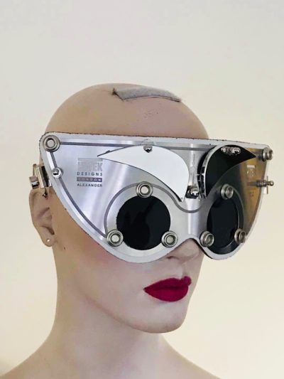 Perforated metal visor mask for show biz filming