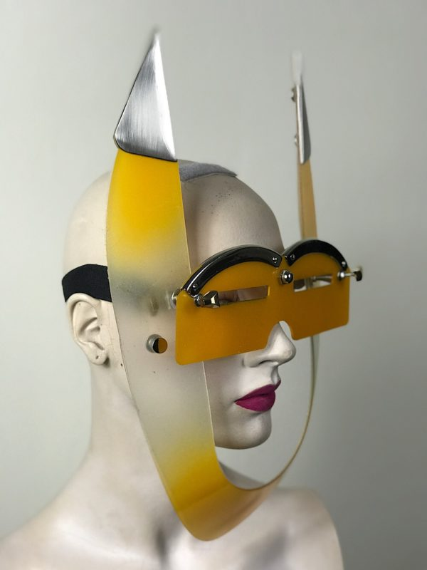 mask with horns, styling video, costume yellow