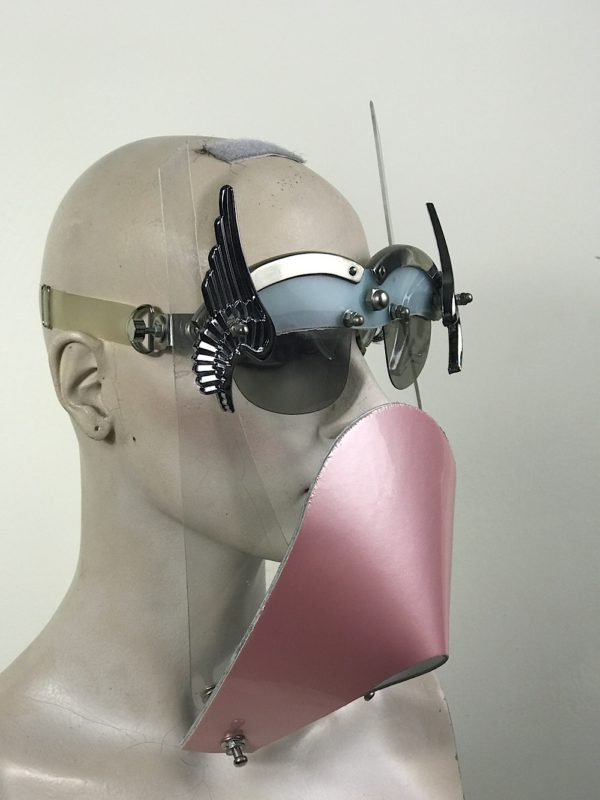 Eye wear mask with metal wings and pink muzzle