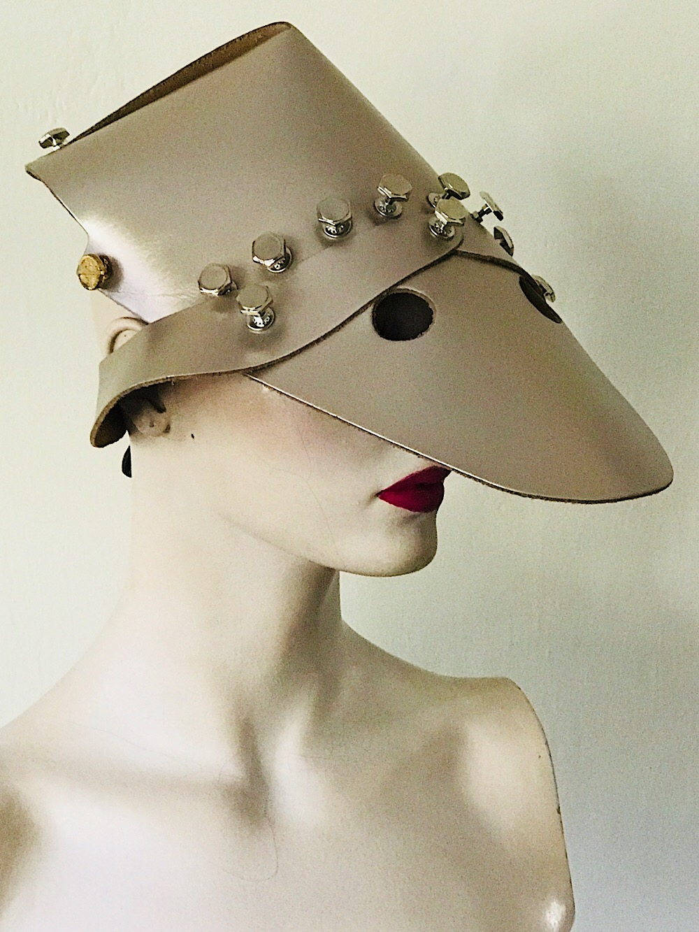 Platinum gold metallic leather hat head wear for costume styling statement