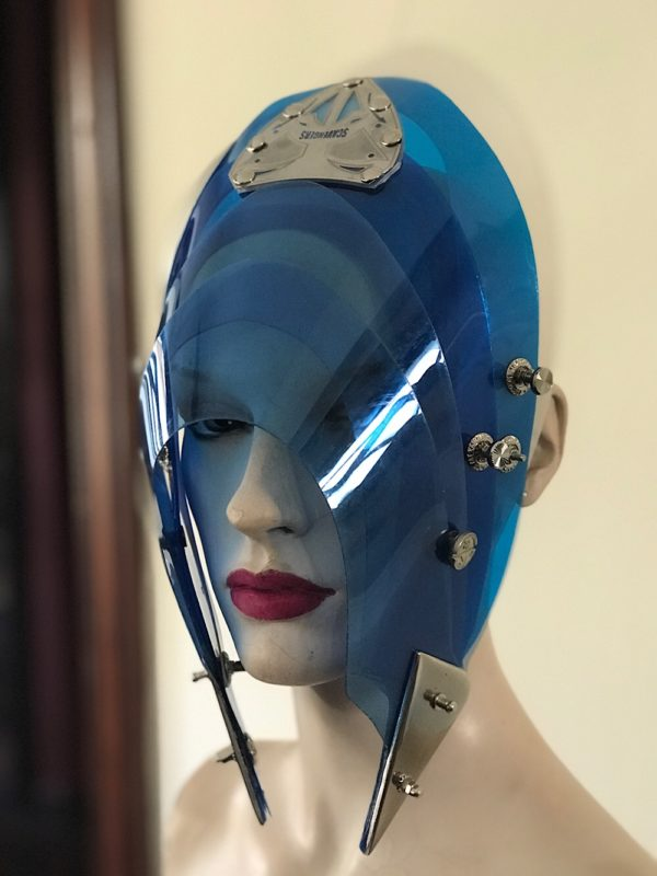 Unusual Head Wear futuristic, mask hat headpiece helmet modern Steampunk wearable art blue