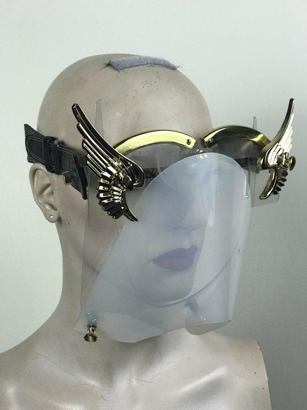 eye wear mask with metal angel wings and muzzle futuristic fantasy modern steampunk unusual Hi Tek