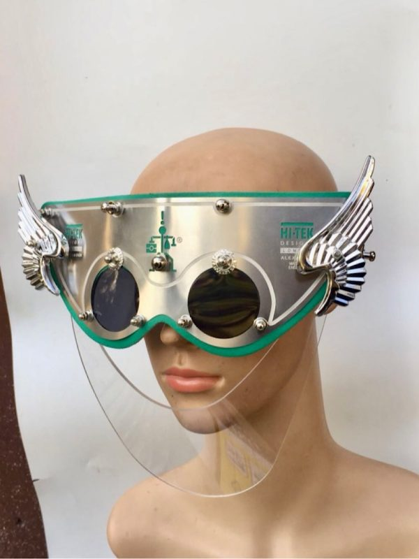 visor mask with angel wings and nose shield for show biz filming