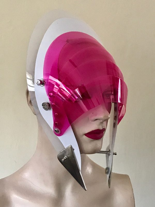 Unusual Head Wear futuristic, mask hat headpiece helmet modern Steampunk wearable art pink