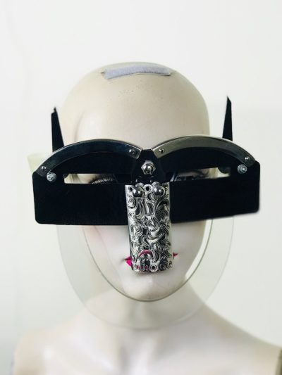 Black eyewear mask with horns and metal nose shield Hi Tek