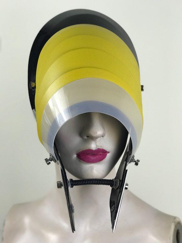 Unusual Head Wear futuristic, mask hat headpiece helmet modern Steampunk wearable art