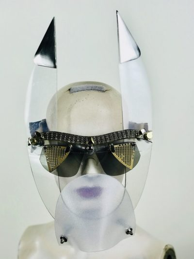 clear mask with triangular horns muzzle styling video, costume