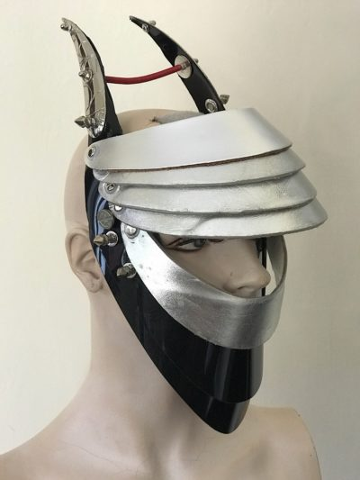 Unusual Head Wear mask silver leather with horns alien helmet metallic leather