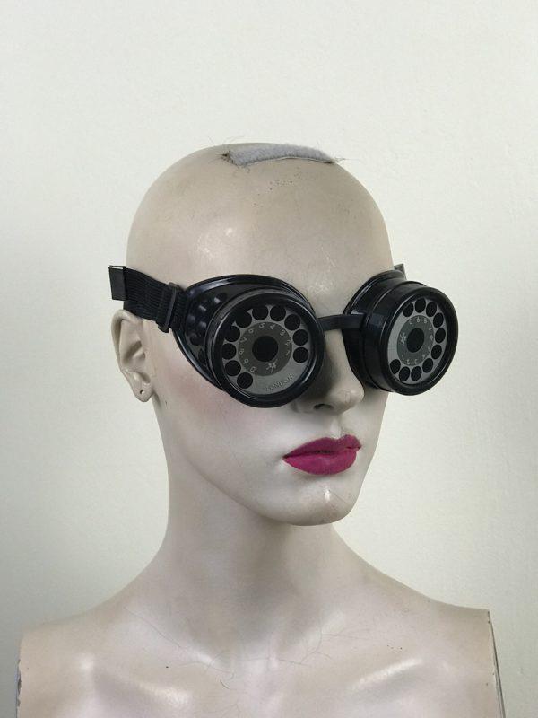 steampunk goggles metal ocular lens black plastic cups TELEPHONE DIAL