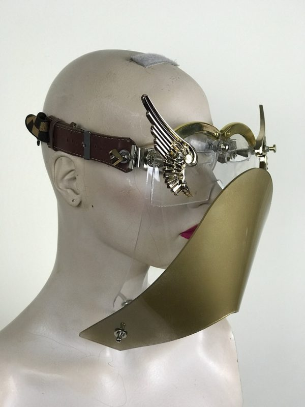 eye wear mask with metal angel wings and muzzle futuristic fantasy modern steampunk unusual Hi Tek