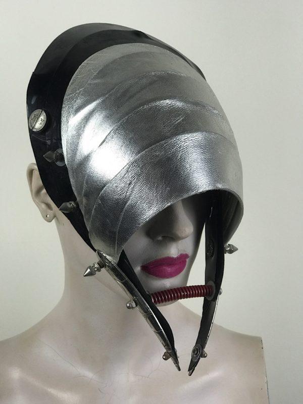 Unusual Head Wear mask silver leather with horns alien helmet metallic leather