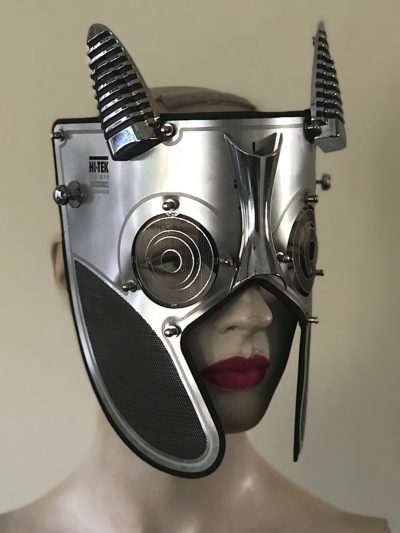 Metal Spartan mask with horns in perforated stainless steel Troy