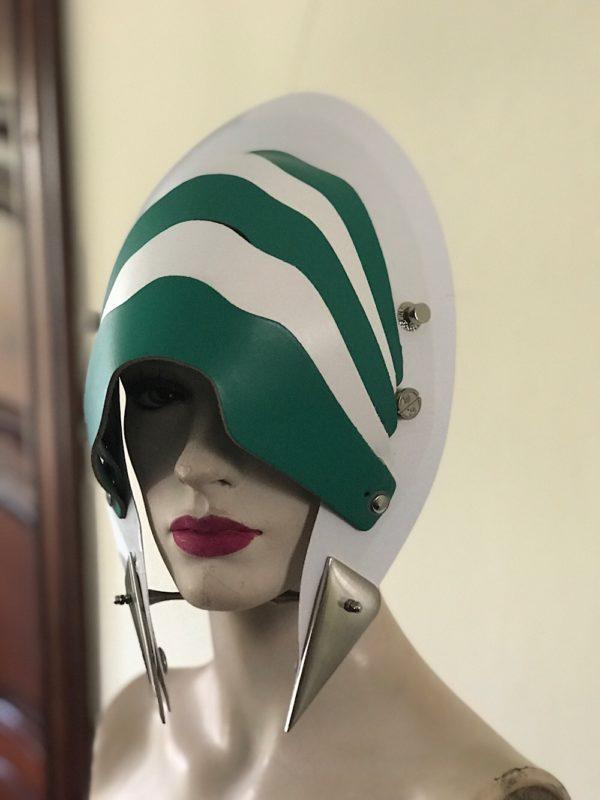 Unusual Head Wear futuristic, mask hat headpiece helmet mode rn Steampunk wearable art green white