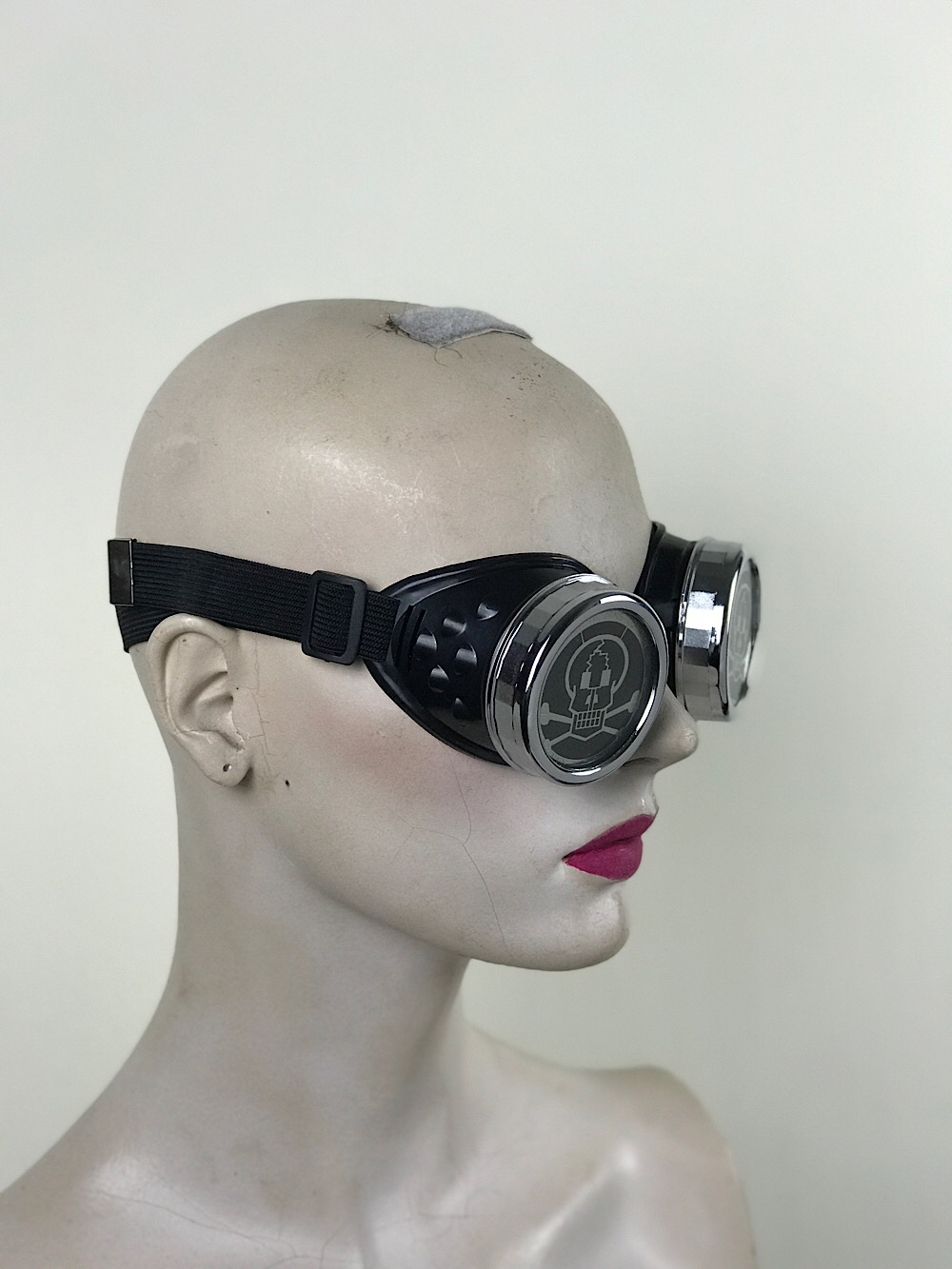 steampunk goggles metal ocular lens silver plastic cups SKULL