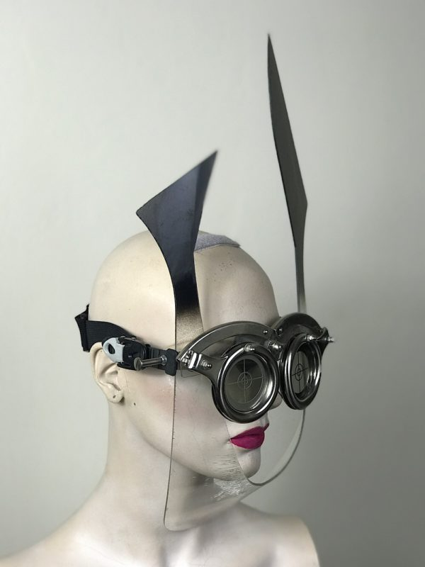 eye wear mask with horns and perforated metal oculars lenses Hi Tek