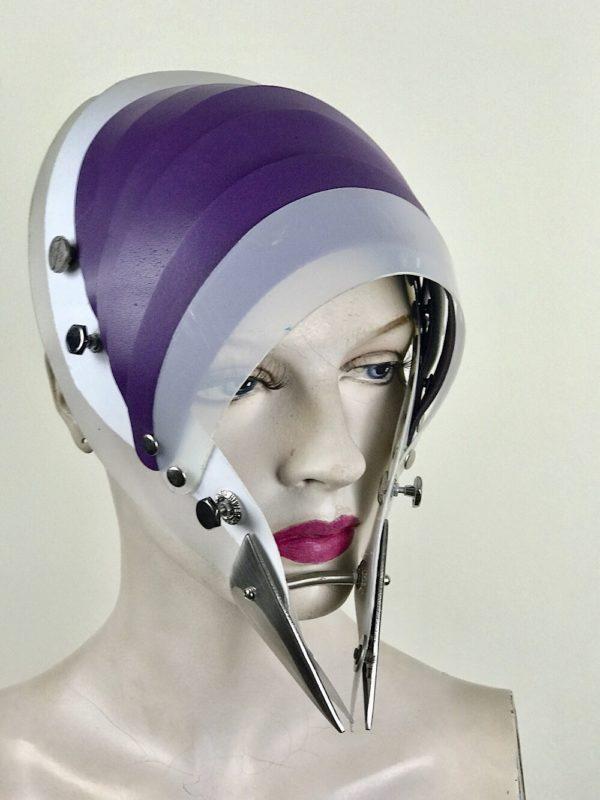Hi Tek Alexander handmade modern futuristic, sci fi ,gothic ,steampunk unusual party eyewear alien leather mask hat headpiece helmet