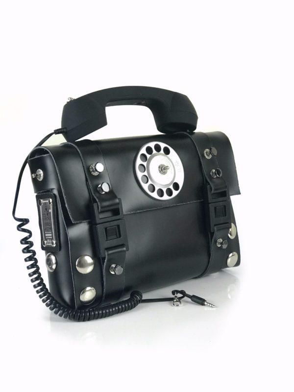 black shoulder bag retro telephone handle unusual statement