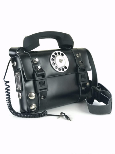 black shoulder bag retro telephone handle unusual statement