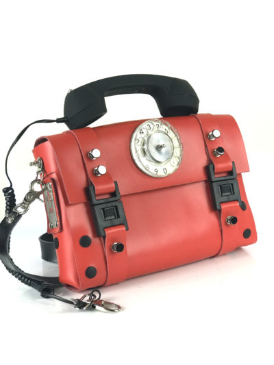 red shoulder bag retro red telephone handle unusual statement