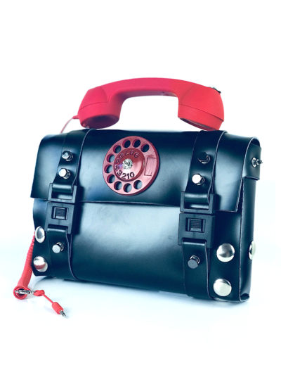 black shoulder bag retro red telephone handle unusual statement